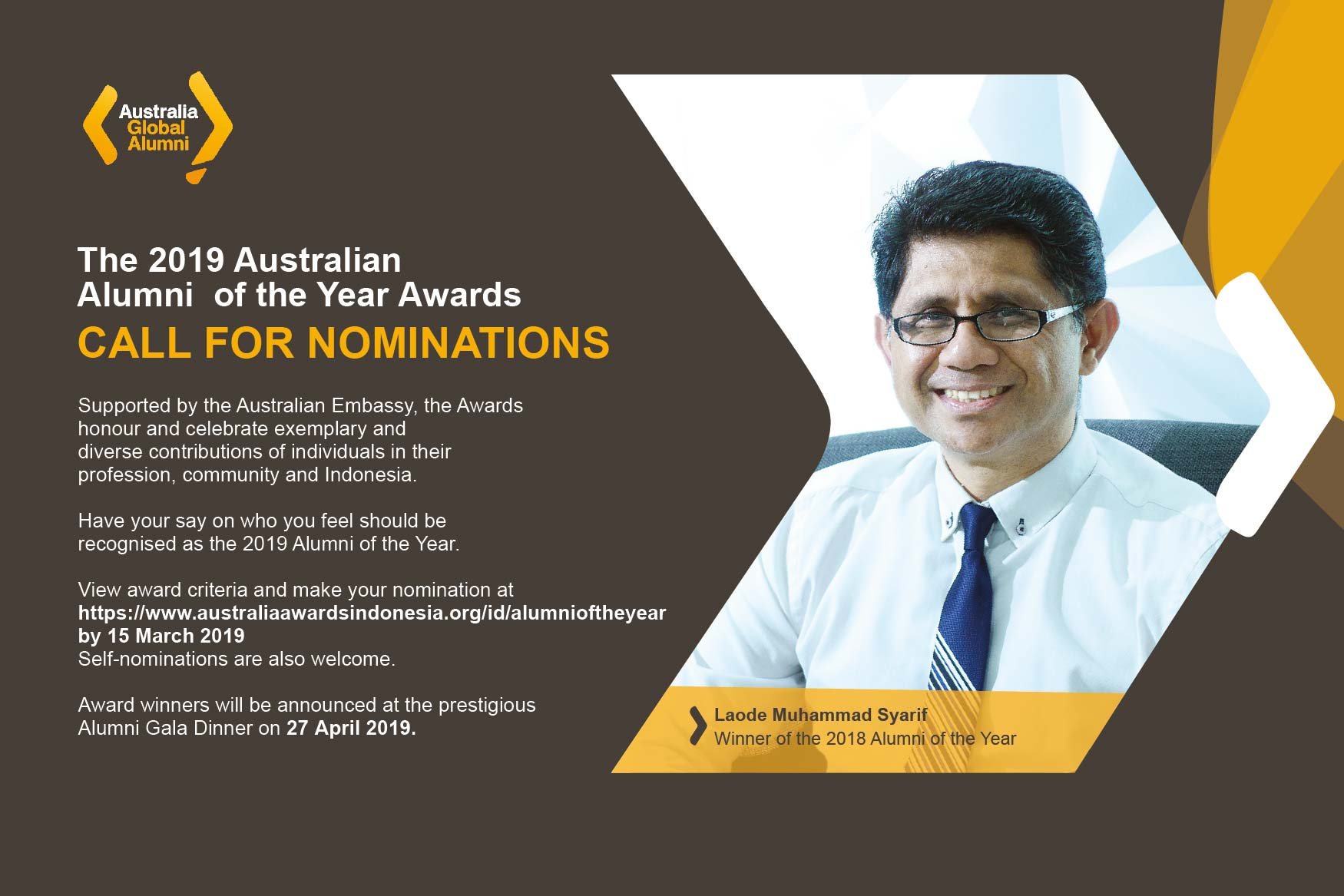 Call for Nominations: The 2019 Australian Alumni of the Year Awards!