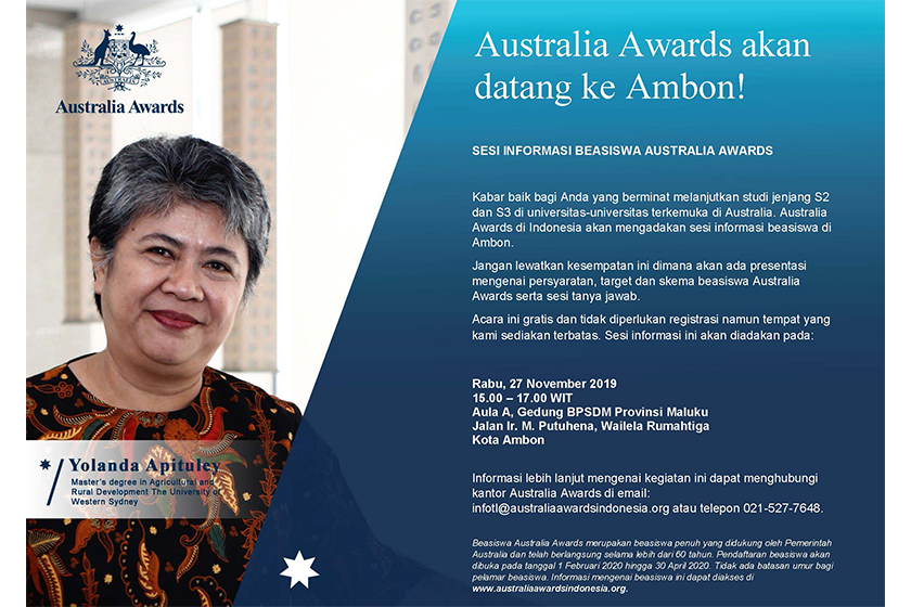 Australia Awards Postgraduate Scholarships Info Session and CV Writing Workshop in Ambon
