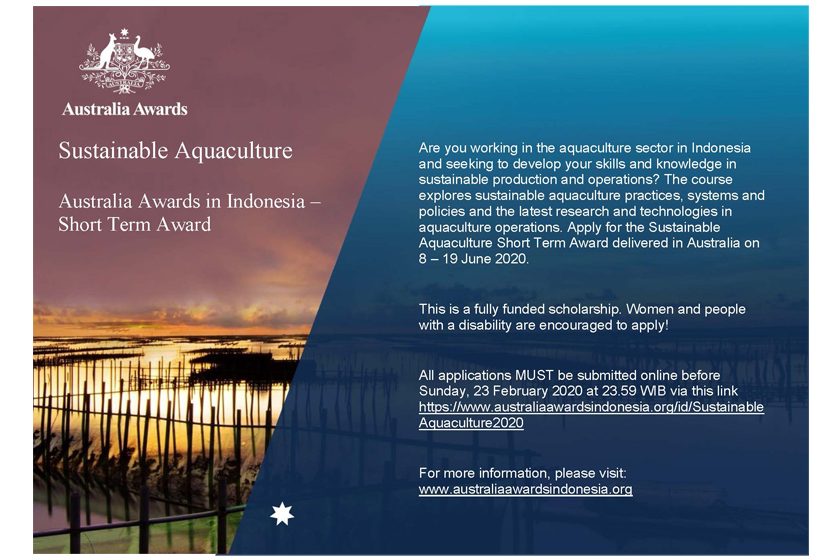 "Applications Open for the ""Sustainable Aquaculture"" Short Term Award"