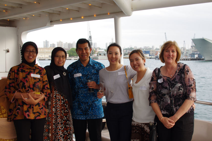 Awardees and their new friends at a boat cruise on Sydney harbour