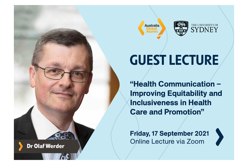 """Join us in the Guest Lecture on """" Health Communication – Improving Equitability and Inclusiveness in Health Care and Promotion"""""""