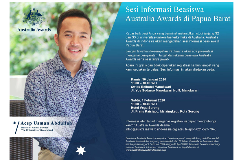 Australia Awards Postgraduate Scholarships Info Session in Manokwari and Sorong