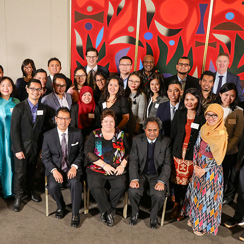 Australia Awards scholars from Indonesia, Philippines, PNG, Mongolia, Cambodia and Vietnam with Government and Consular representatives at the Acknowledgement Ceremony for the NSW Government Australia Awards Seminar Series 2018 (Sydney August 2018)