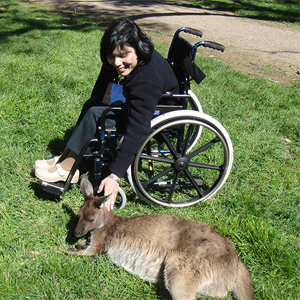 A disabled woman on a wheel chair is petting a kangaroo